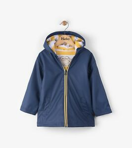 New Boys Girls Hatley Navy & Yellow Splashcoat Raincoat Mac Jacket 5 6 7 8 10 1