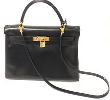 GREAT CONDITION HERMES 32CM BLACK BOX LEATHER SHOULDER KELLY HANDBAG, YEAR 1998