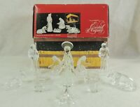 12pc Cristal D'Arques FRANCE Crystal Christmas Nativity Figurine Set w/ Manger