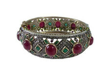 7.74ct Antique Rose Cut Diamond Silver 925% Ruby Emerald Victorian Look Bracelet