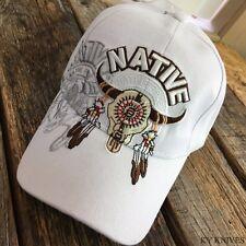 Native  Bull SKULL Indian Native Pride WHITE Baseball Ball Cap Hat NEW -E