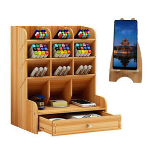 Wooden Desk Organizer, Multifunctional DIY Pen Holder Box Desktop Stationary