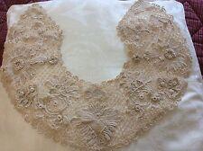 Splendido Vintage Colletto di merletto Irlandese all'uncinetto, beige, 3D Rose, shamrocks
