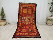 "Moroccan Tribal Mzouda Handmade Carpet 3'3""x6'9""  Berber Abstract Red Wool Rug"