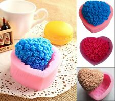 Loving Heart Rose Bouquet Silicone Chocolate Fondant Mould Cake Decor Soap Molds