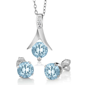 """Round Aquamarine Solitaire Earrings Pendant 18"""" Jewelry Set 14K White Gold Over"""