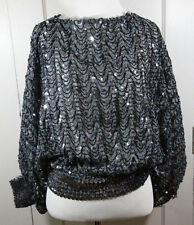 Vintage Black Sequin Top Batwing Sleeves Cropped Disco Glam S M 70s 80s Holiday