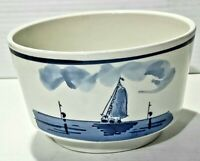 Baarn Delfts Blauw Hand Painted Bowl Planter Windmill Sailboat Holland. Vintage