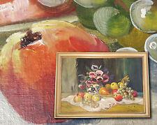 MORATH MÜNCHEN - orig. altes Ölgemälde: Markantes Blumenstillleben mit Obst