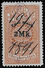 + 1873 Bremen German States 2 Mark Fire Insurance Revenue Bob used 1891