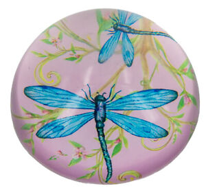 Pink Dragonfly Crystal Paperweight - 8cms dia. x 4cms high. - AU Seller
