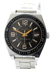 Ruhla Germany Herren-Armbanduhr diver design silber schwarz gold Datum UMF 24