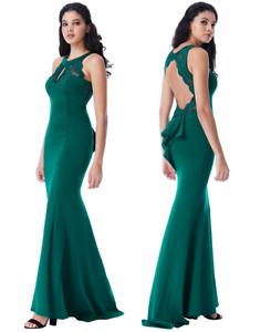 Goddiva Lace Open Back Fishtail Maxi Evening Dress Prom Ball Party RRP £65 8-14