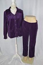 White Stag Medium 8-10 Large 12-14 Purple Velour Sweat Suit Sweatshirt Pants