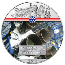 50 Jahre Mondlandung Engine Saturn V American Eagle 2019 1 oz 999 Farbe (8te)