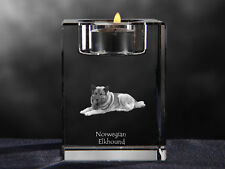 Norwegian Elkhound, crystal candlestick with dog, souvenir, Crystal Animals CA