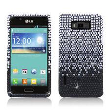 LG Optimus Showtime Crystal Diamond BLING Hard Case Phone Cover Gradient Black
