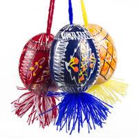 3 Wooden Ukrainian Hanging Easter Eggs Pysanky Pysanka Large Paskha on Strings