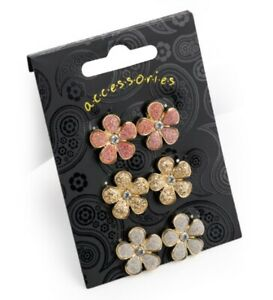 Womens Set of Three Glittery Flower Boho Stud Earrings
