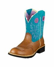 Ariat Womens Western Show Horse Riding Brown Blue Boots FatBaby 7.5 8 8.5 9 9.5