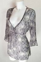 Per Una M&S grey white Lace 3/4 bell sleeve V neck empire Tie back blouse top 18