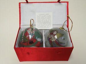 Vintage 1998 Li Bien Pier 1 set Angel & visit with Santa Christmas Ornaments (2)