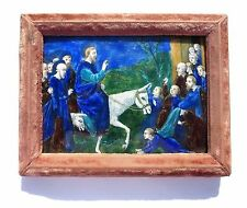 "French LIMOGES ENAMEL PLAQUE ""The Entry into Jerusalem"""