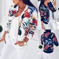 Summer! Women's Retro Flower Zipper Bomber Jacket Baseball Casual Coat Outwear
