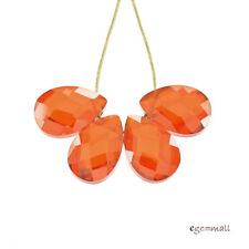 10 Cubic Zirconia Flat Briolette 5x7mm Orange #64034