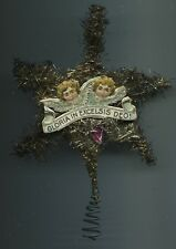 1880-1900 alt Weihnachtsschmuck Christbaumschmuck Engel Litho Tinsel Baumspitze