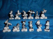 MICKEY & GANG Set 12 B&W Figurines Porcelain FEVES Figures DISNEY Donald GOOFY