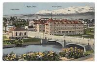 Vintage Old Tinted Photo Postcard Riverside Hotel & Bridge in Reno NEVADA c.1910