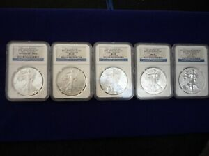 2011 25th Anniversary 5-Coin Silver Eagle Set NGC PF69 UC  MS69  MS70  MS69 PF69
