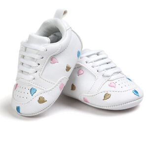 Cute Baby Kids Girls Embroidery Love Shape Soft Crib Sole Toddler Sneakers Shoes