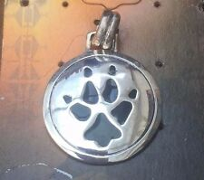 1 X NATIVE AMERICAN STERLING SILVER WOLF PAW PRINT PENDANT - Necklace/Wolves