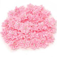 Light Pink Satin Ribbon Flowers & Rhinestone Diamante Centre, 25mm Craft Flower