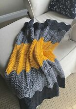 Knit Crochet Baby Stroller Blanket Afghan Chevron Ripple Charcoal/Grey/yellow