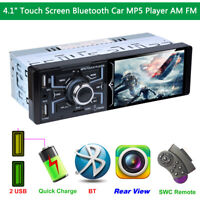 """Single Din Car Stereo 4.1"""" Touch Screen Bluetooth MP3 MP5 Player Subwoofer AM FM"""