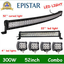 52Inch 300W LED Curved Work Light Bar+22'' 120W Combo Truck+4X 18W Spot Light US