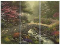 Thomas Kinkade Bridge of Faith 36 x 48 Triptych Giclee Canvas Prints