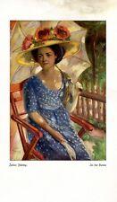 In the sun 1922 art print by Julius Fehling summer hat parasol blue dress