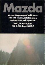 Mazda 1974-75 UK Market Foldout Sales Brochure 1000 1300 818 929 RX-3 RX-4 B1600