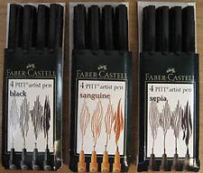Faber Castell Pitt Artist Pens - 3 x Wallets (12 Pens)