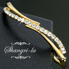 18K GOLD GP Nickel FREE Curved BANGLE BRACELET with Swarovski CRYSTAL SF056