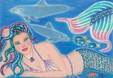 """original 5x7"""" mermaid dolphins fish fantasyArt-Plus Free Aceo Print of Item!"""