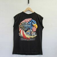 Vintage Harley Davidson Tank Top Muscle Shirt Size Large 90s Eagle USA Flag