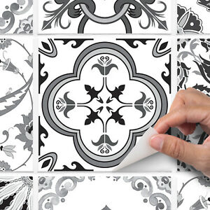 Mixed grey traditional tile stickers for kitchen or bathroom - T9 - Mix