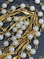 "Vintage 1950's 54"" White Imitation Pearl Fancy Gold Time Beaded Necklace"