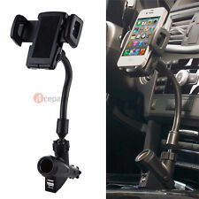 Dual USB 2-Port Car Charger Cell Phone Mount Holder for iPhone 6 6 Plus 5S GPS