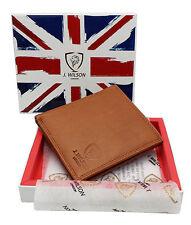 RFID SAFE Leather Designer Mens Wallet Veg Tan Contactless Card Zip Coin Pocket